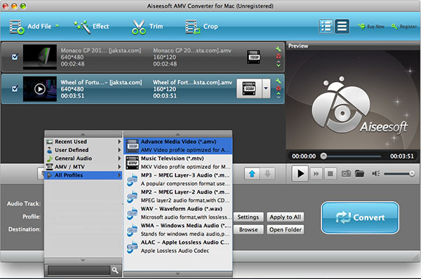 Aiseesoft AMV Converter for Mac - Imagem 1 do software