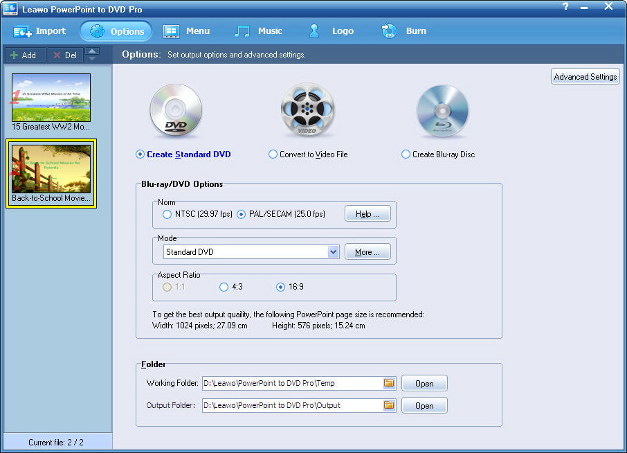 Leawo PowerPoint to DVD Pro - Imagem 1 do software
