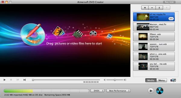 Aimersoft DVD Creator for Mac - Imagem 1 do software