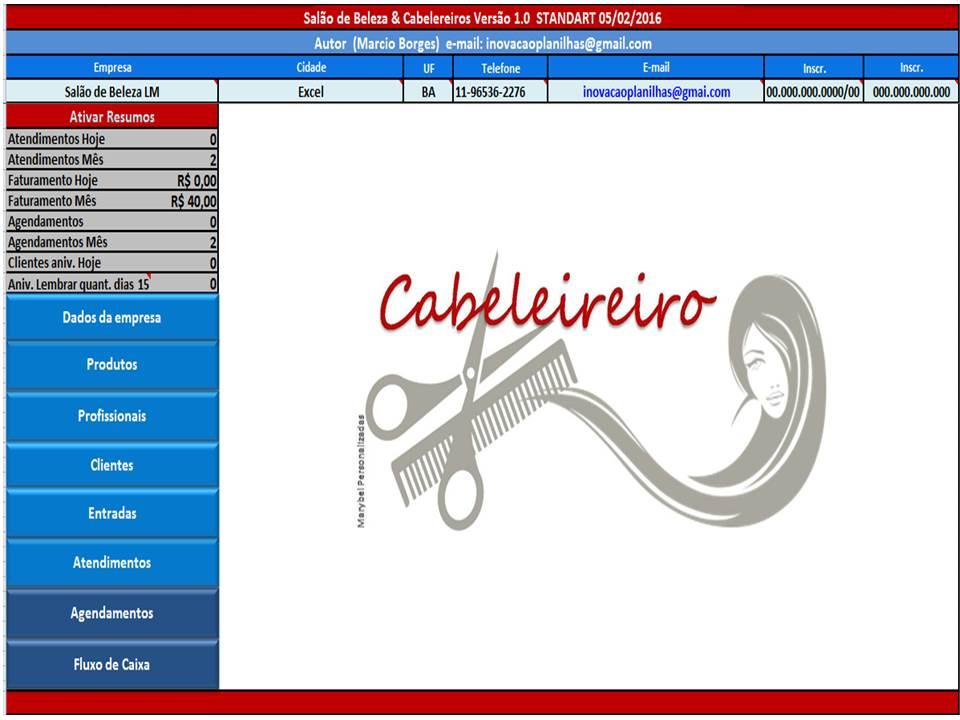 Planilha para Salão de Cabeleireiros - Imagem 1 do software
