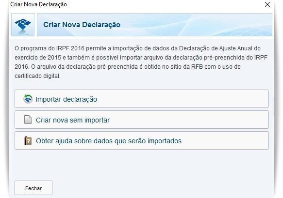 Declaração do IRPF 2016 - Imagem 2 do software