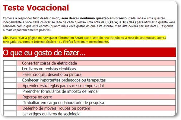 Teste vocacional online 2016