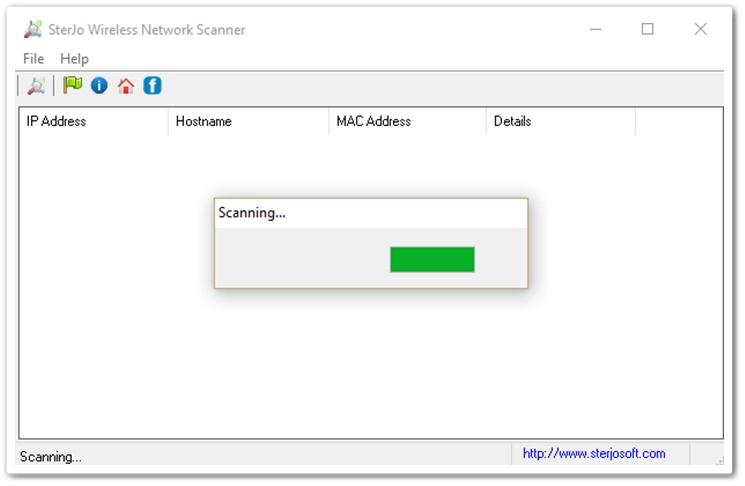 SterJo Wireless Network Scanner - Imagem 1 do software