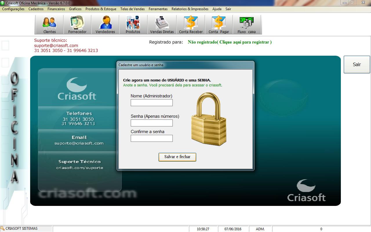 Criasoft Oficina mecânica - Imagem 1 do software