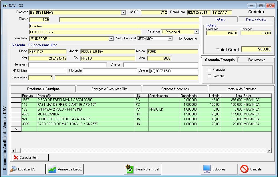 Gestão Comercial Mecânicas - Imagem 1 do software