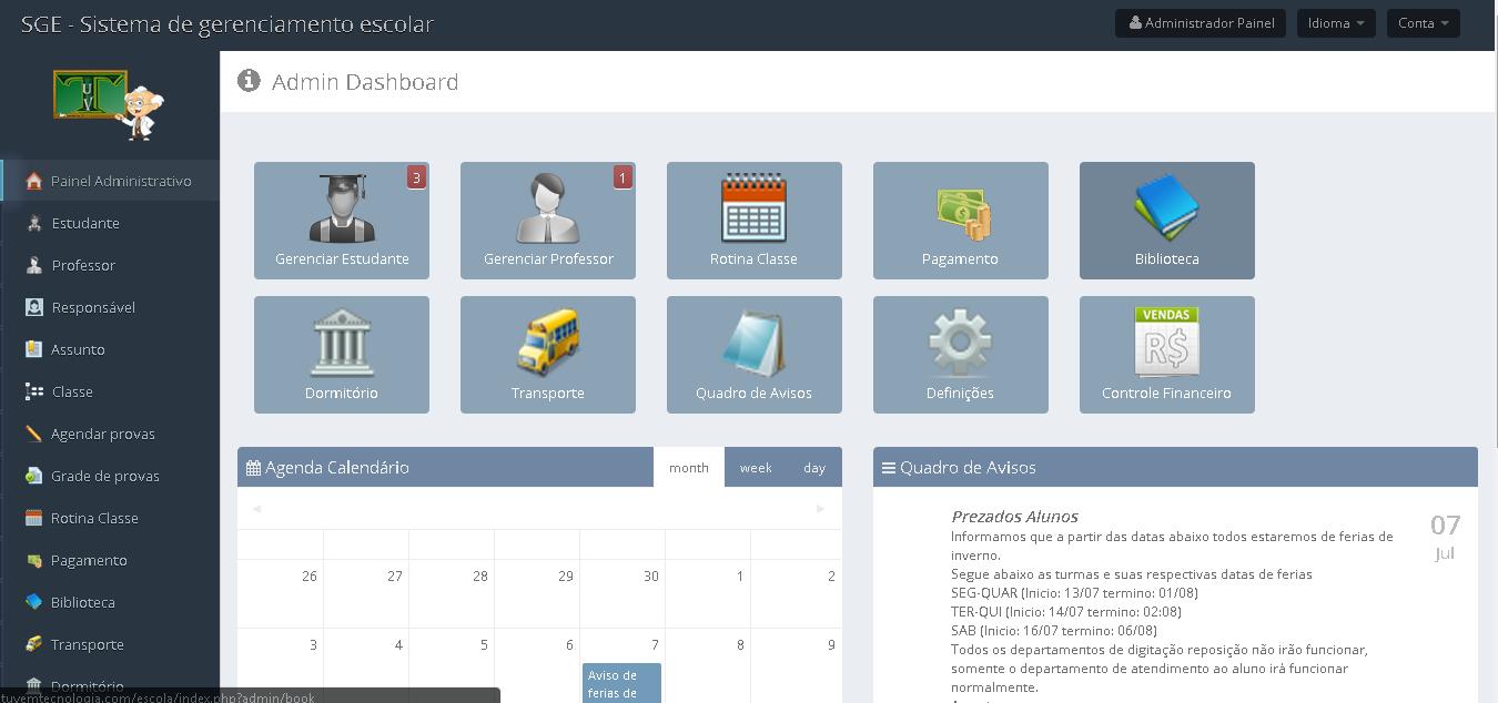 SGE - Sistema de Gestão escolar - Imagem 1 do software