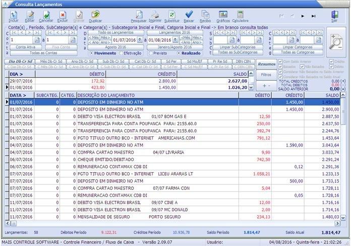 Mais Controle Software - Controle Financeiro / Fluxo de Caixa - Imagem 1 do software