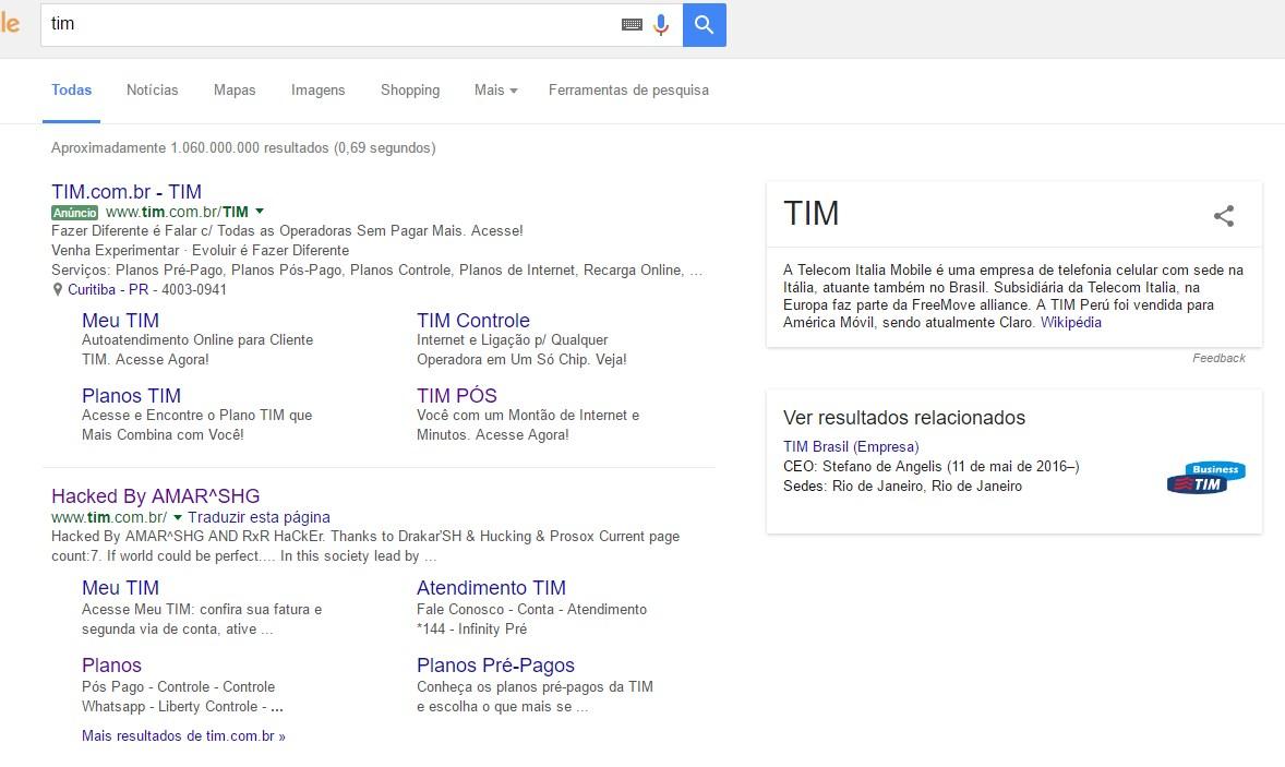 Site da TIM é sequestrado por hackers na manhã desta terça