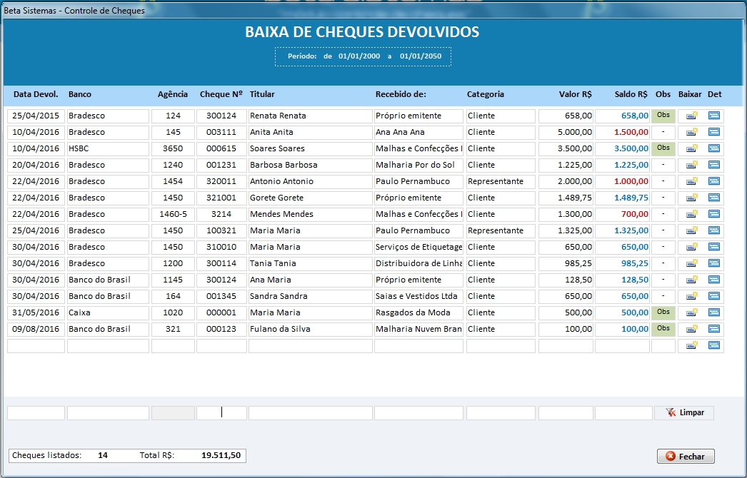 Beta Sistemas - Cheques Devolvidos - Imagem 1 do software