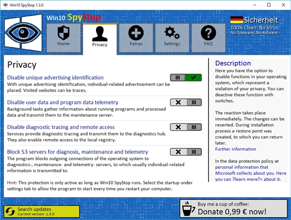 Win10 SpyStop - Imagem 2 do software