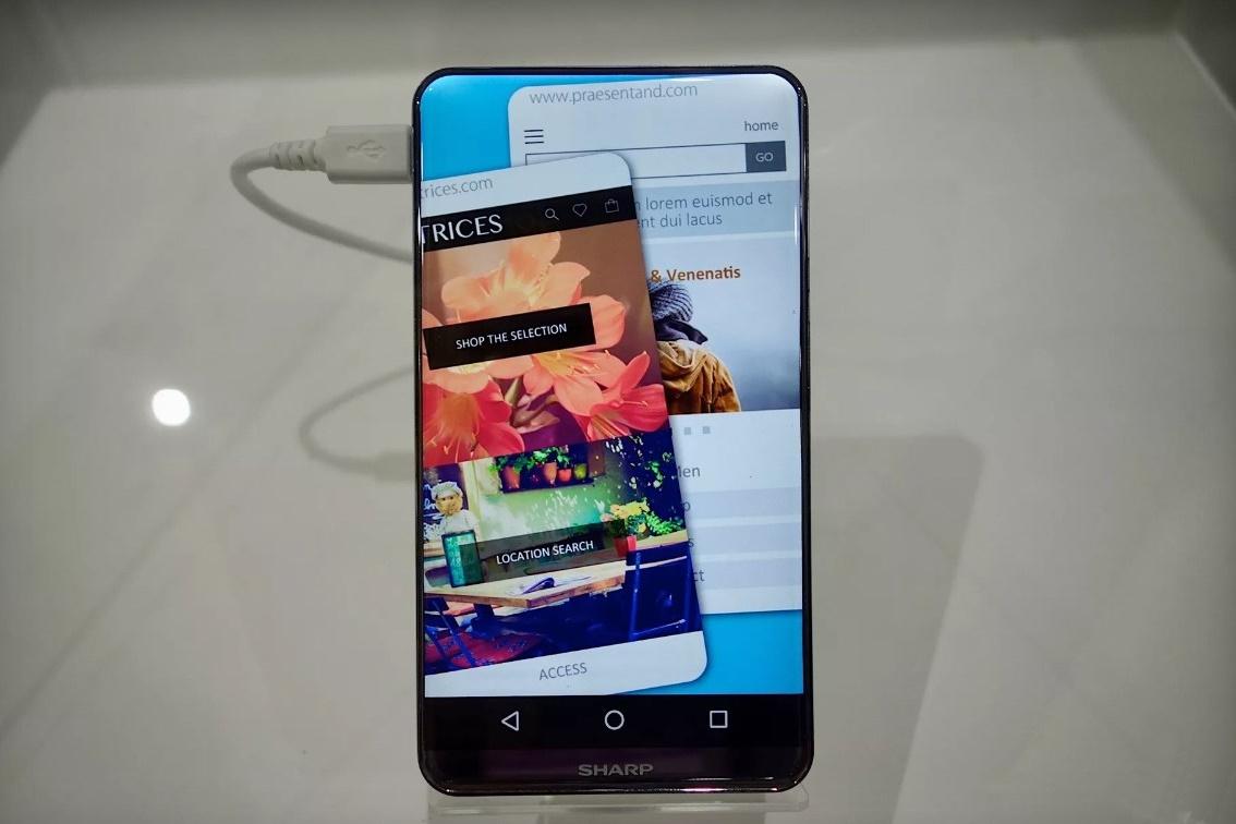2ca206cb897 Incrível  Sharp mostra celular com tela de bordas e cantos arredondados