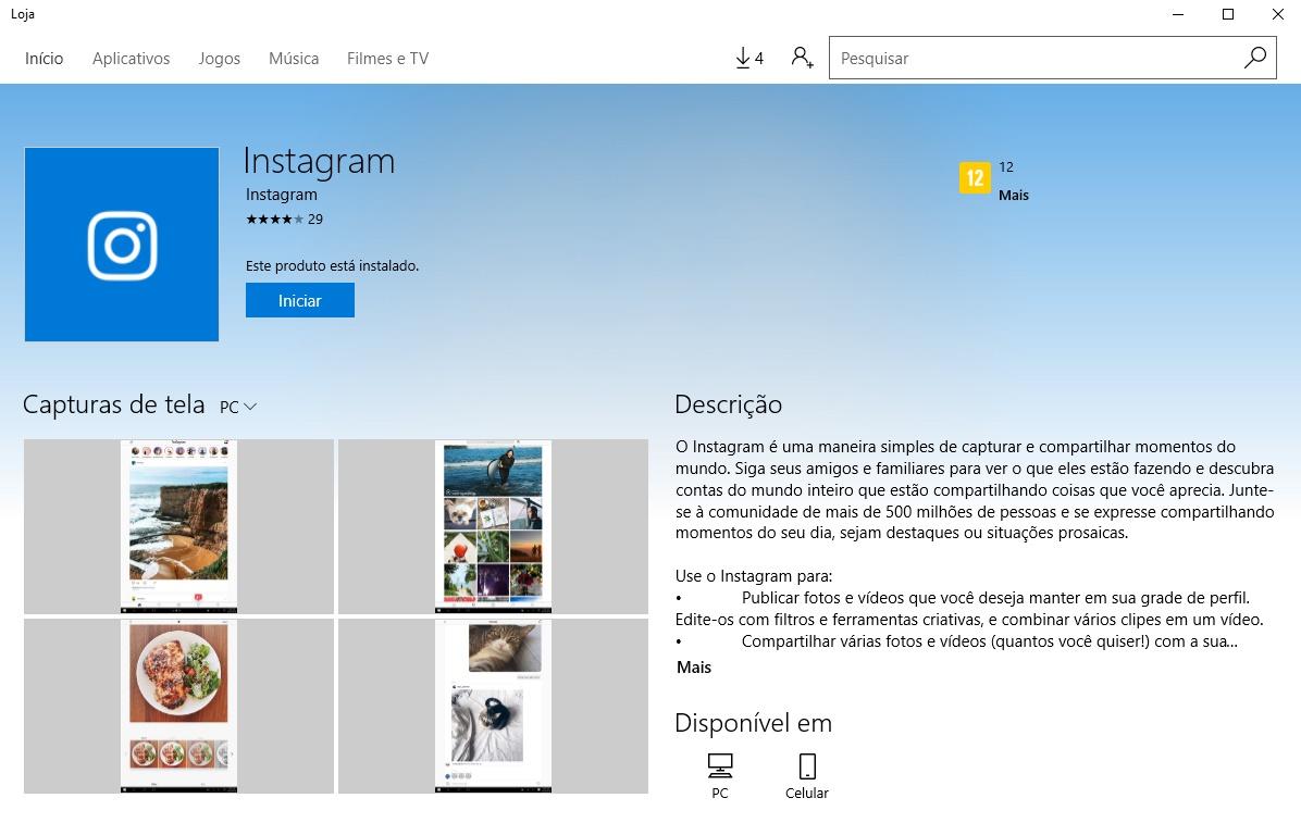 Instagram windows 10 desktop app download
