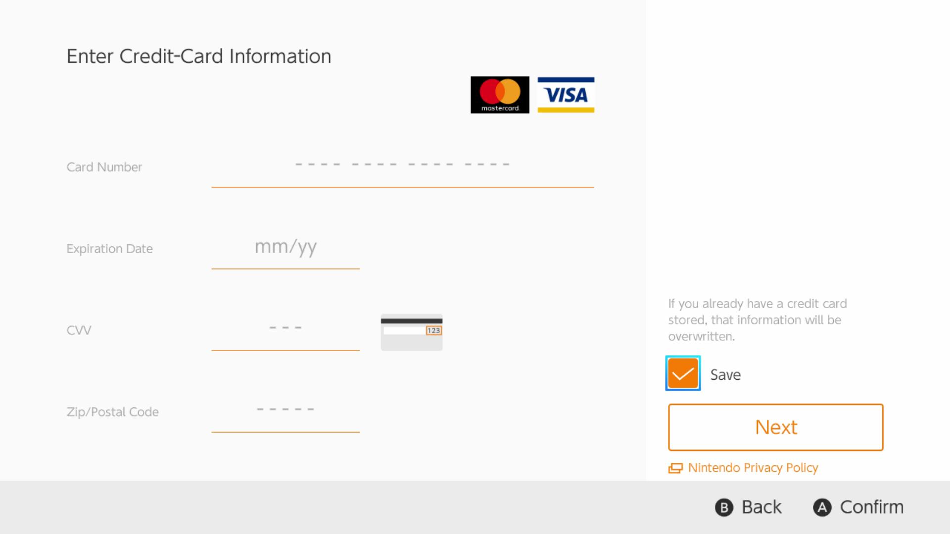 Agora você pode armazenar suas informações de cartão de crédito no Switch