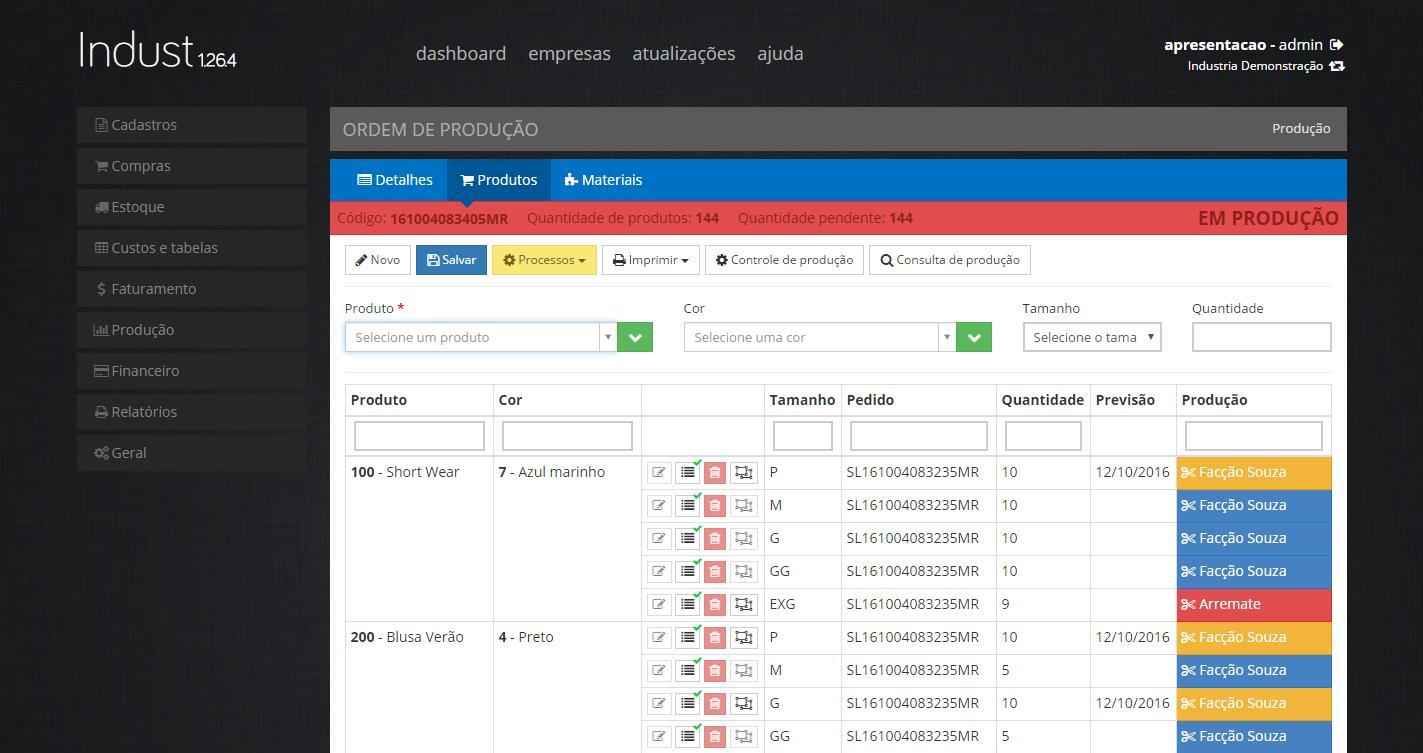IndustWeb – Software para Industria de Confecção - Imagem 5 do software