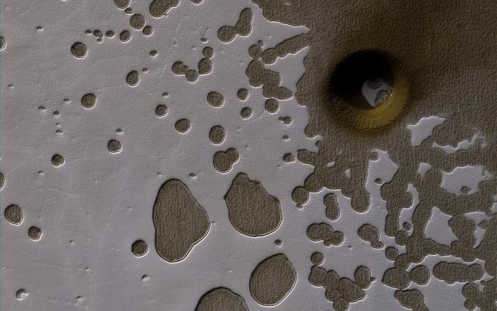 Buraco misterioso na superfície de Marte (Crédito: Reprodução)