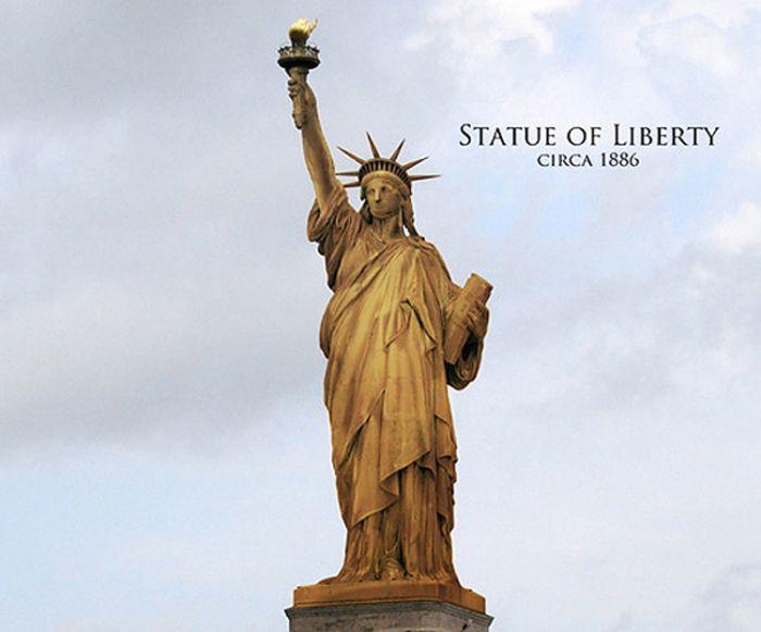 Estátua da liberdade em sua cor original  (Crédito: Reprodução)