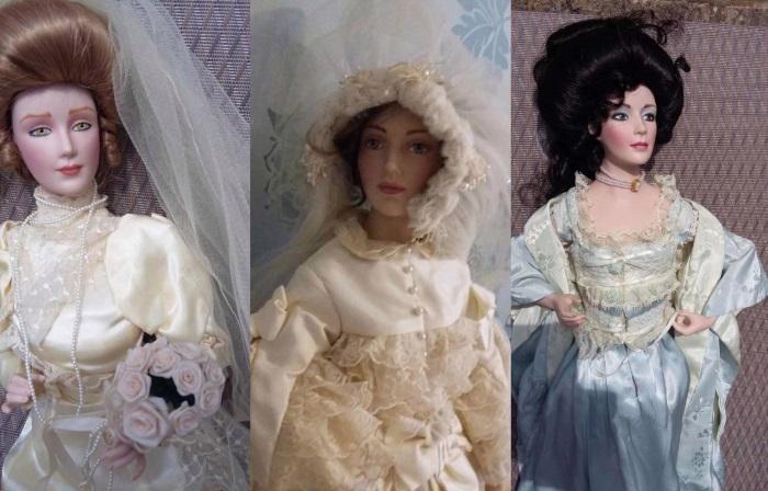 Trio de bonecas de porcelana comprado por Debbie  (Crédito: Mercury Press)