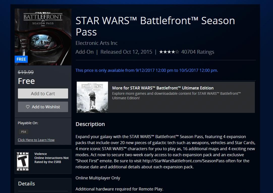 Season pass de Star Wars Battlefront está de graça na Live, PSN e Origin
