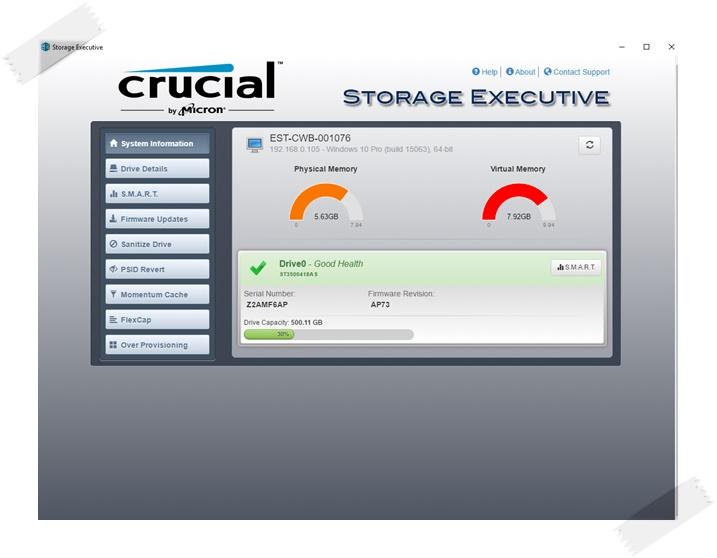 Crucial Storage Executive - Imagem 1 do software
