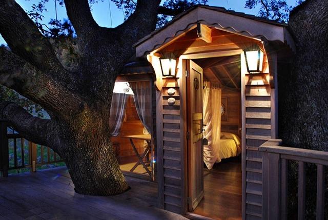 Uma casa com árvores