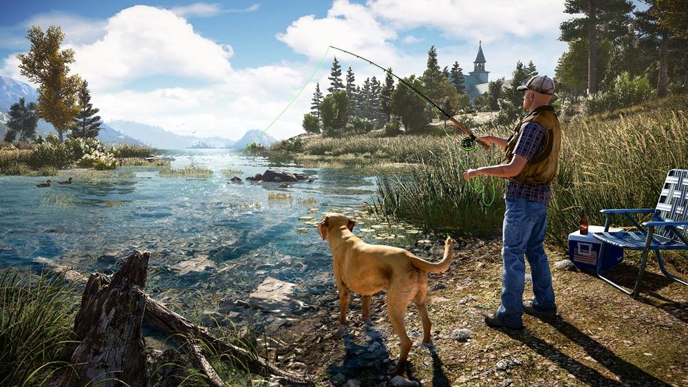 Far Cry 5 pescaria cachorro