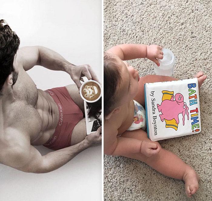 tio modelo e bebê