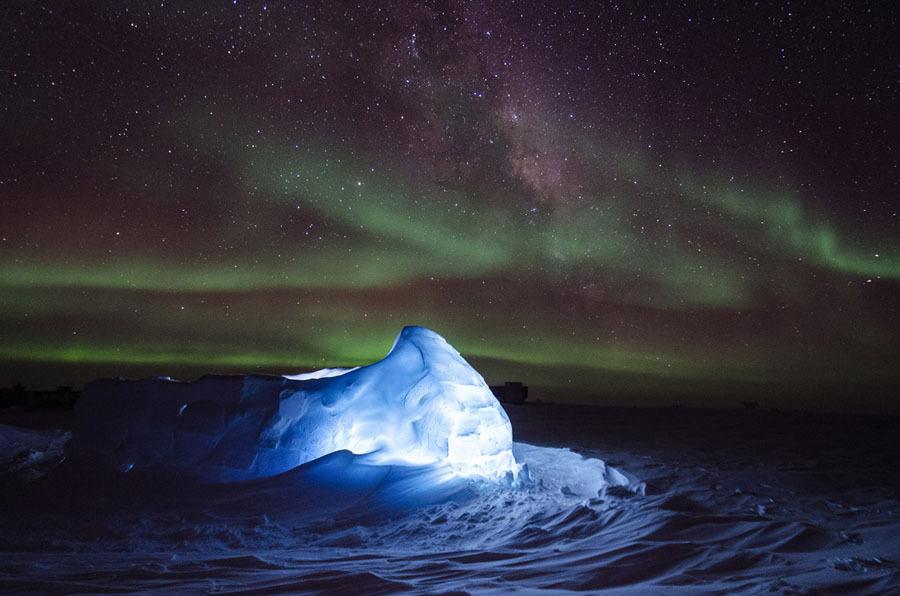 Aurora sobre iglu