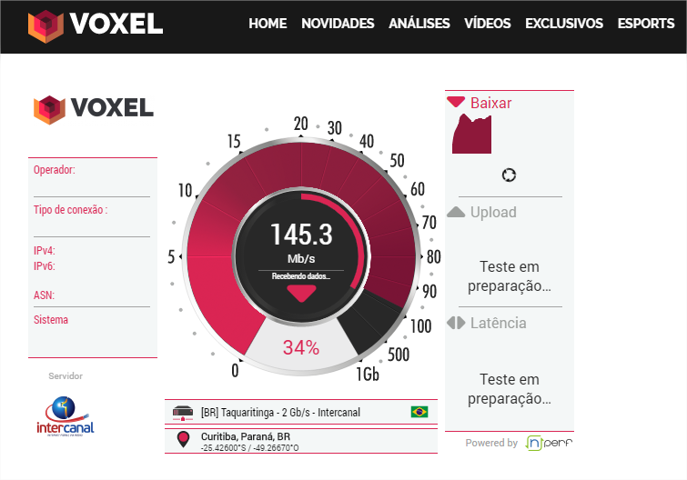 Teste de Velocidade do Voxel - Imagem 1 do software