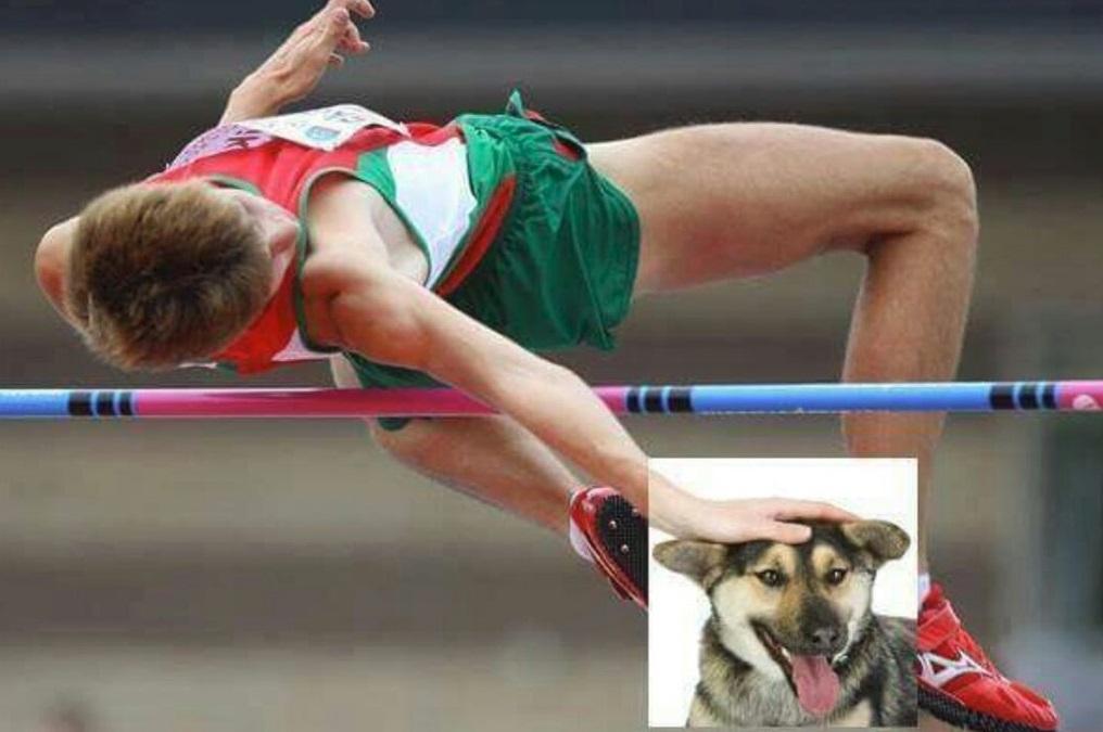 Um atleta saltando.