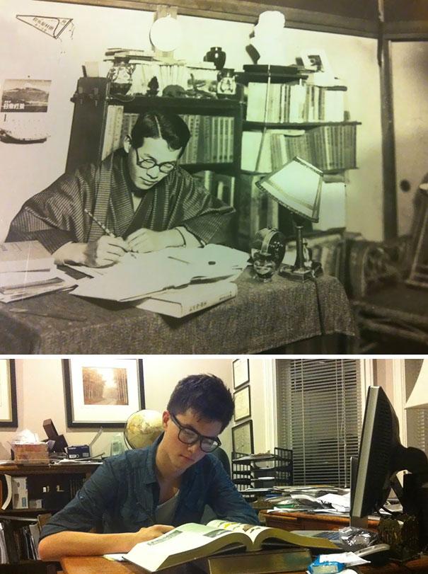 Avô e neto estudioso