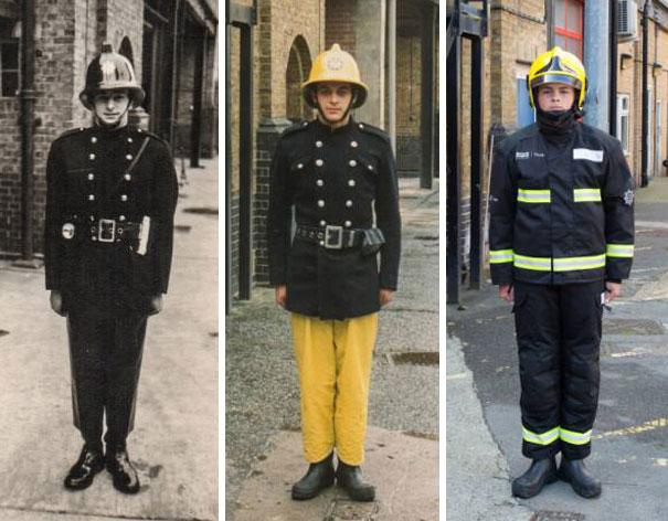 Três gerações de bombeiros