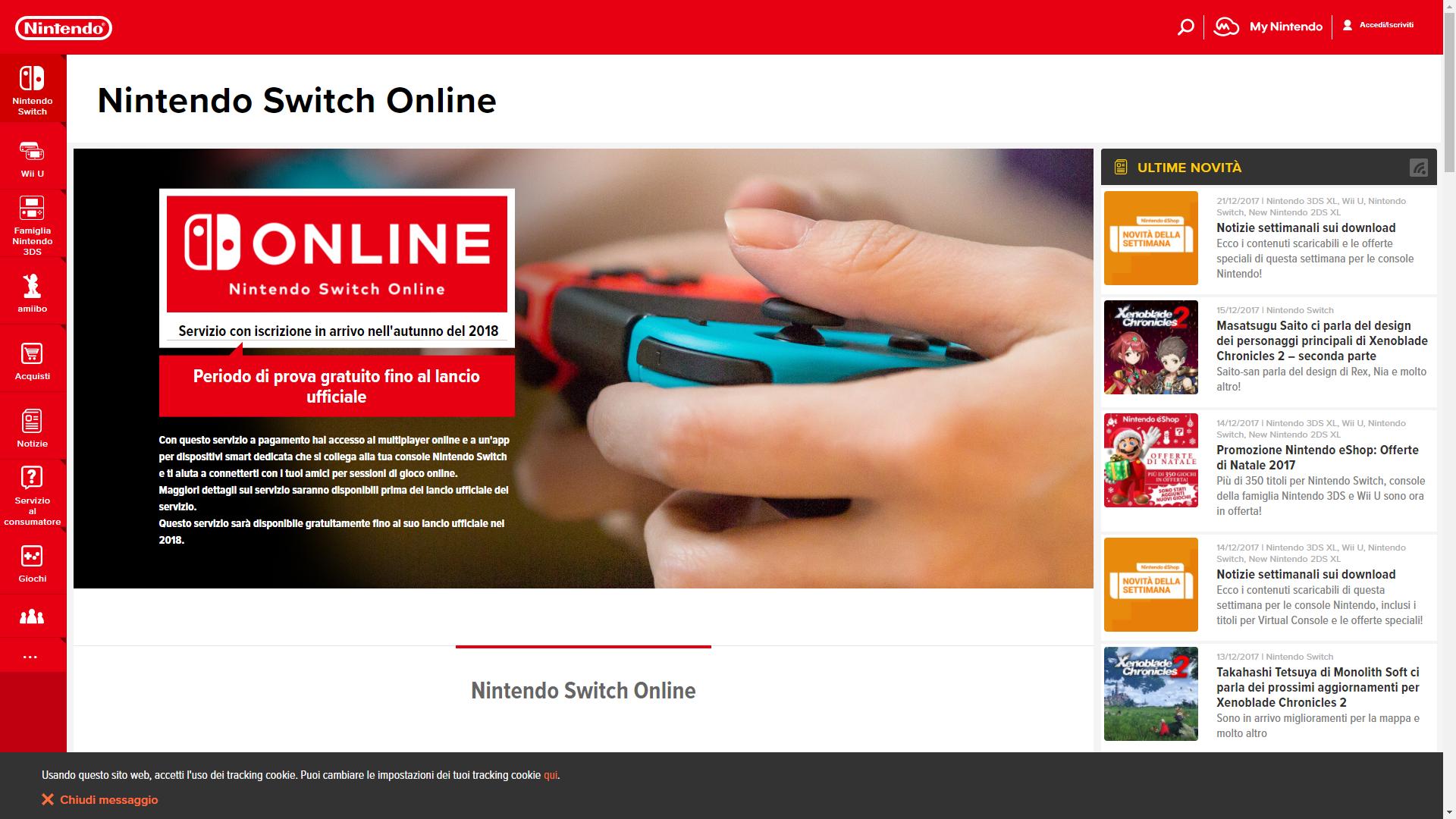 Nintendo Itália vaza que serviços online do Switch só chegam no fim de 2018