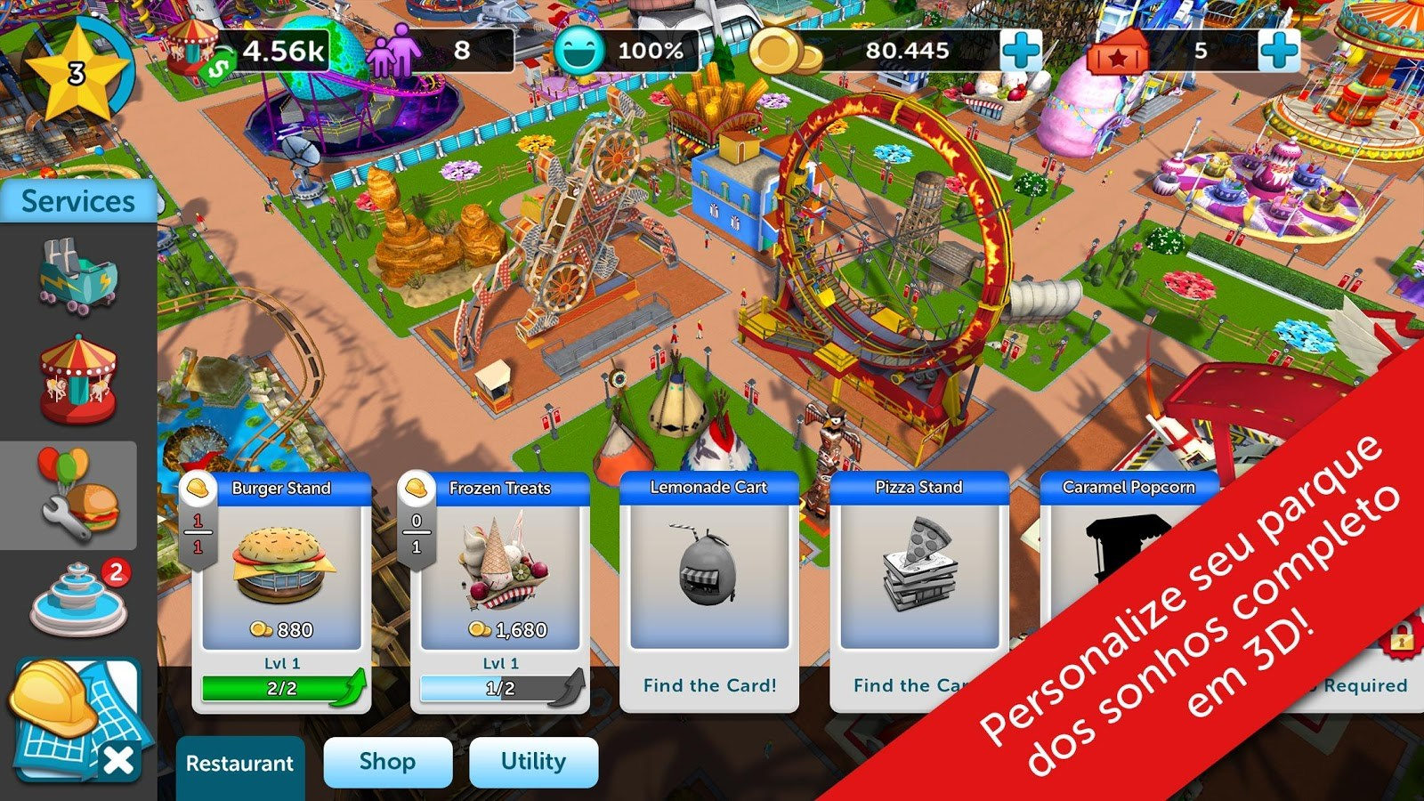 RollerCoaster Tycoon Touch - Imagem 1 do software