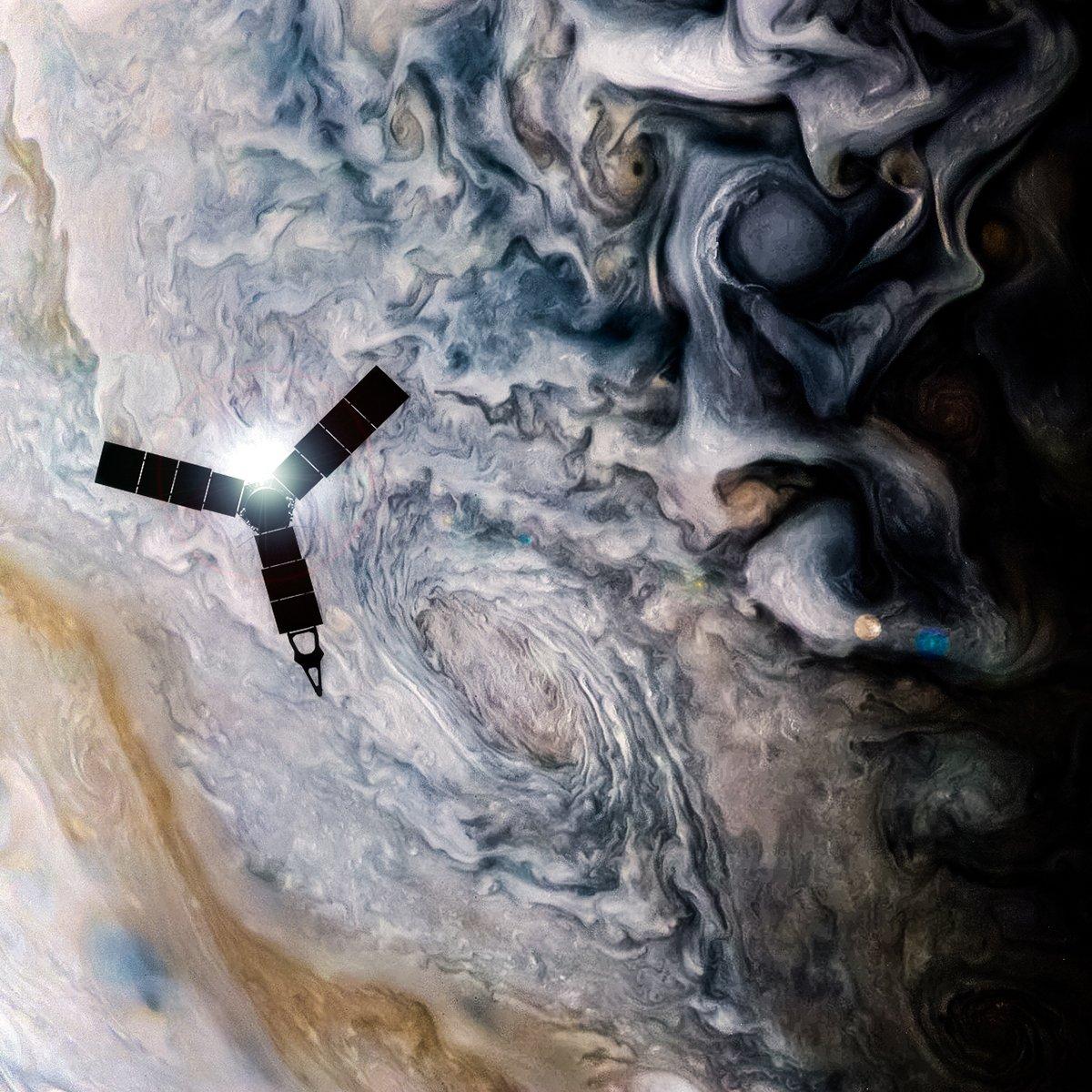 Juno sobrevoando Júpiter