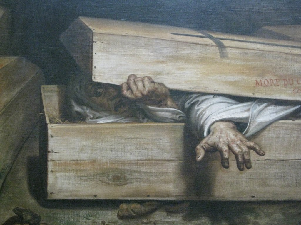 Cadáver em caixão