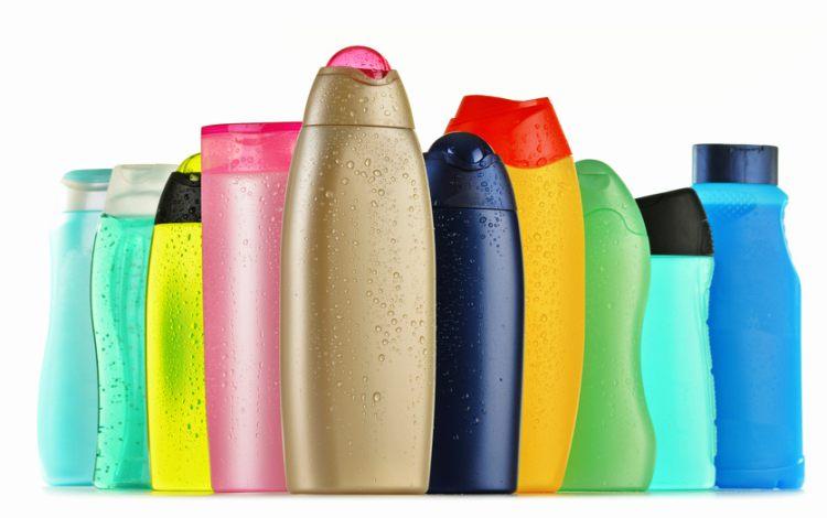 Vidros de shampoo vazios