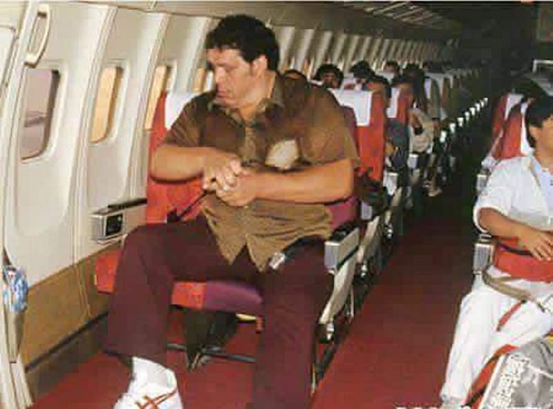 Gigante viajando de avião