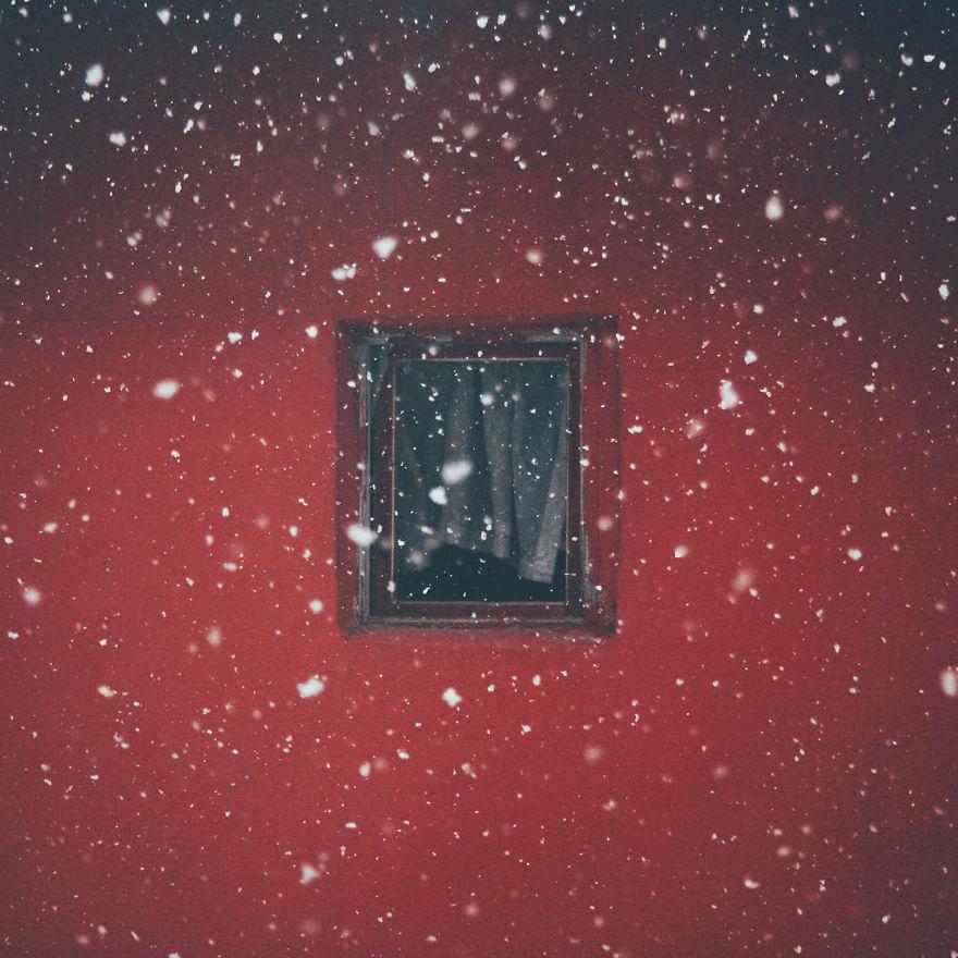 Janela e flocos de neve