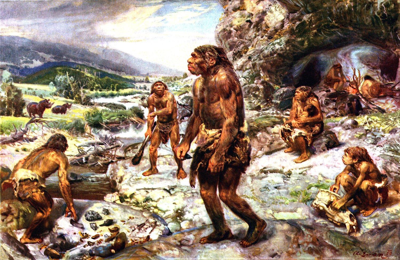 Neandertais caçando