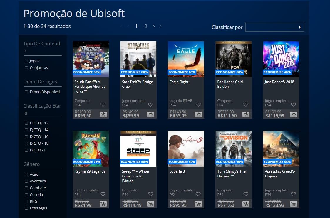 Promoção da PSN traz muitos jogos da Ubisoft e games de anime da Bandai