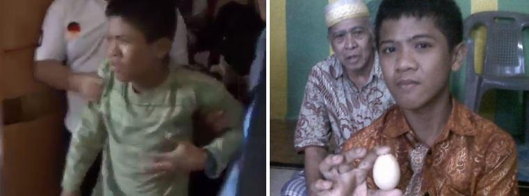 """Akmal antes e depois de botar o ovo: aparentemente, o """"trabalho de parto"""" é dolorido (Crédito: Reprodução )"""
