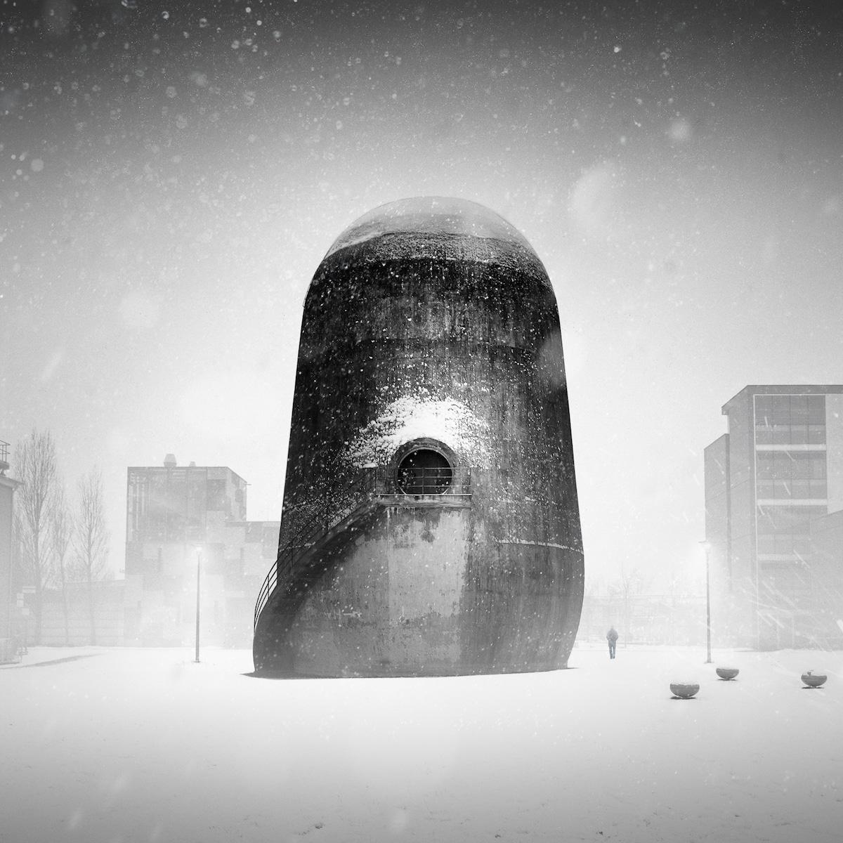Edifício na neve