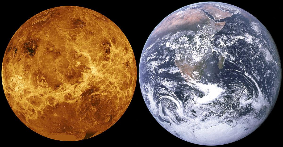 Vênus ao lado da Terra