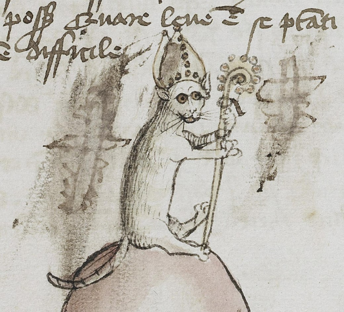 Gato vestido de papa