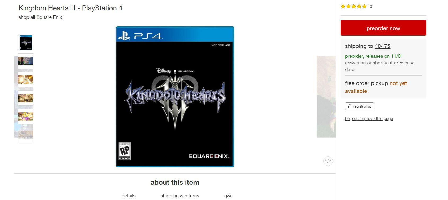 Kingdom Hearts 3 é listado para outubro em loja e fãs ficam esperançosos