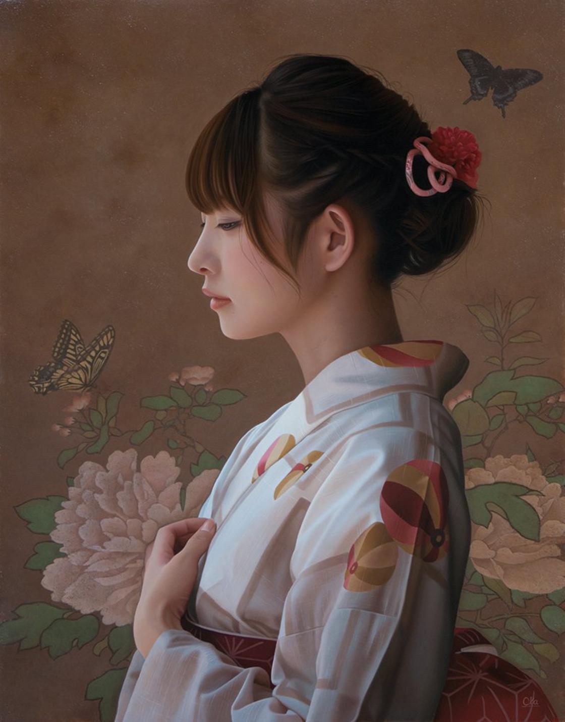 Jovem japonesa de kimono