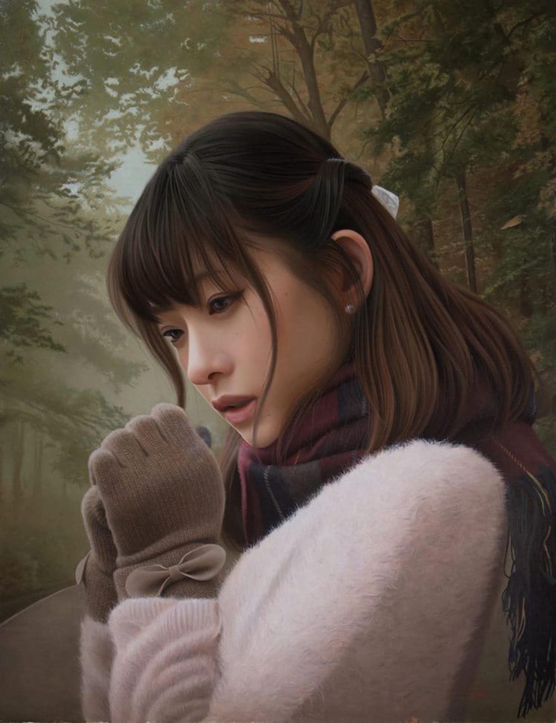 Moça japonesa com frio