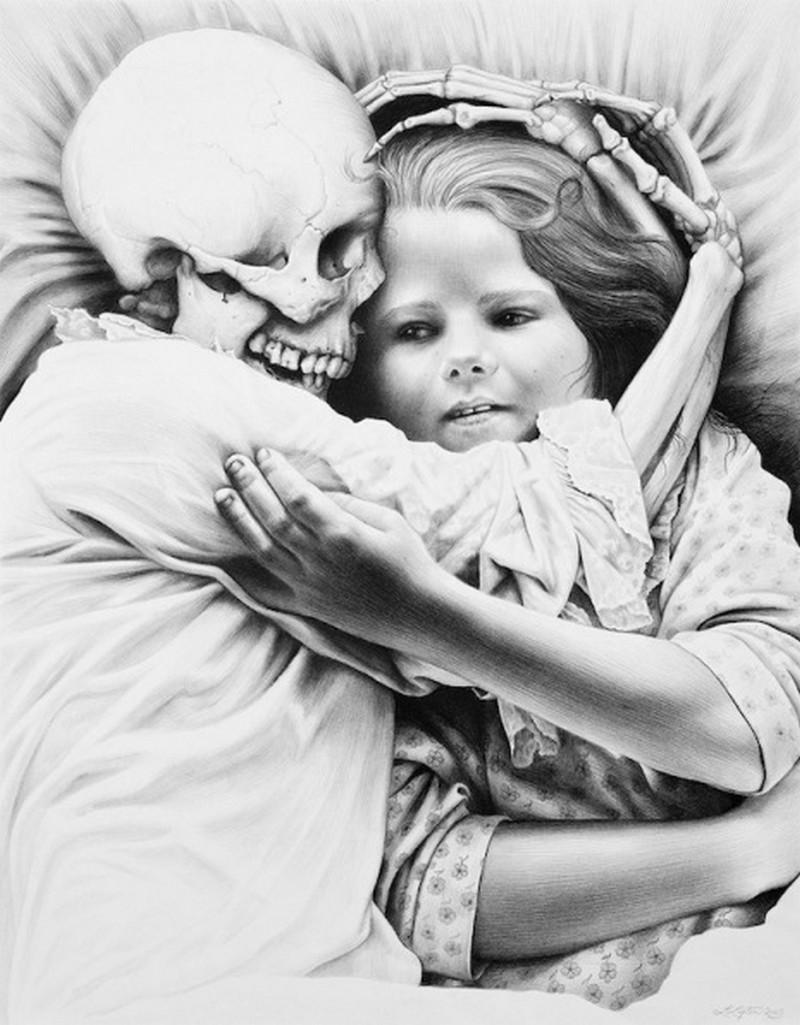 Menina com esqueleto