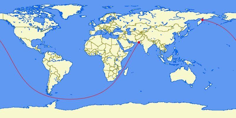 Linha reta no mar