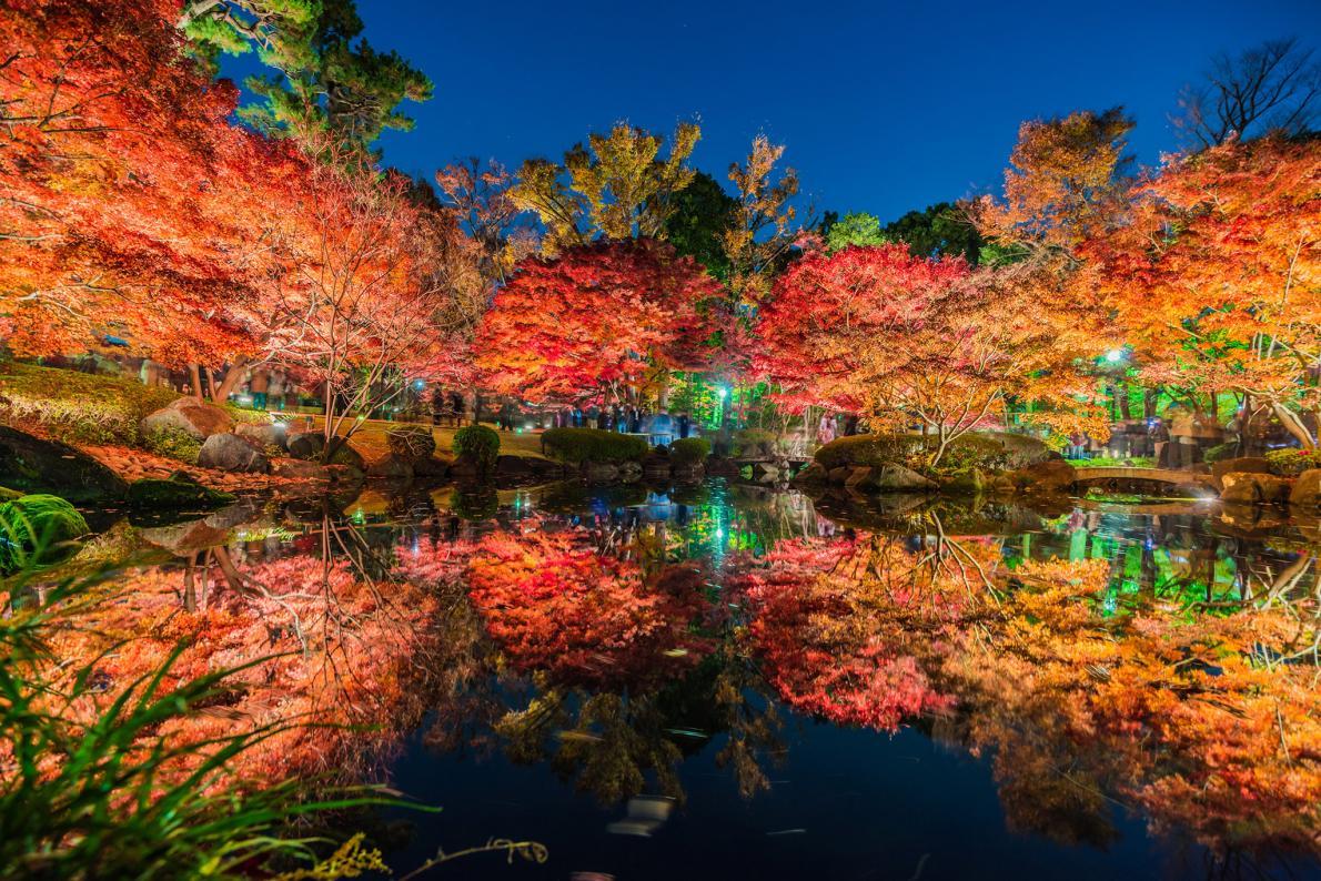 Reflexos em lago no Japão